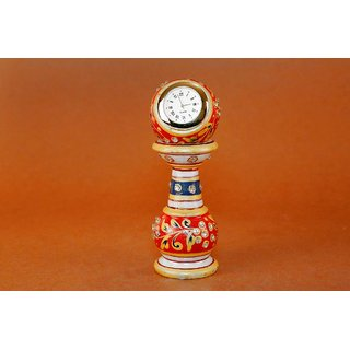 Creative Craft Marble table Clock with Stand 6 Hand Painting Home Decorative Handicraft Gift