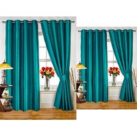 iLiv Combo Of 2 Door  2 Window Curtains - aqua7ft5ft