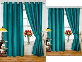 iLiv Combo Of 2 Door  2 Window Curtains - aqua7ft5ft