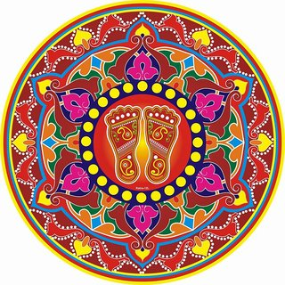 Indo Decorative Diwali Floor Rangoli Poster Pack of 10 Pcs