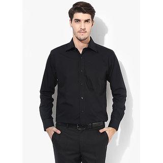 SSB Black  Solid Regular Fit Formal Shirt
