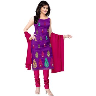 Khushali Presents Embroidered Crepe Dress Material(Purple,Rani) LUMANG01
