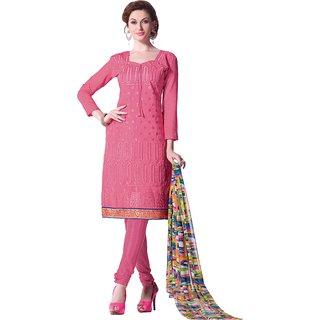 Khushali Presents Embroidered Chanderi Silk Dress Material (Light Pink) PVZAR2211