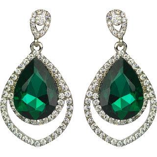 Glitters    Green Stone American Diamond  Fashion Earring  Est012Gr
