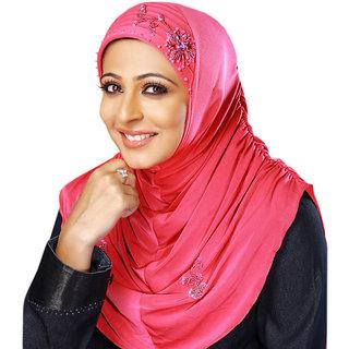 Indha Soft Polyester Stretchable Handwork design Hijab