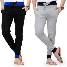 stylatract Black Grey Cotton Blend Running Trackpants For Men