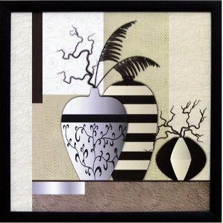 eCraftIndia Abstract Pots Theme Satin Matt Textured UV Art Painting