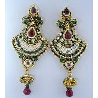 Ethnic Ada Traditional Pearl And Polki Earrings