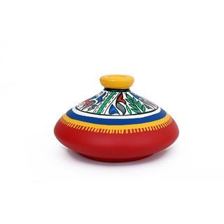 Creative Craft Terracotta Flat Warli Vase Warli Design Hand Painted Home Decorative Handicraft Gift