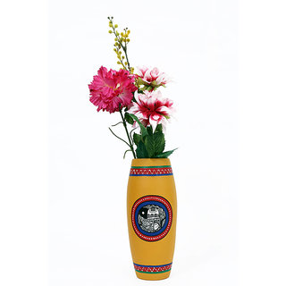 Creative Craft Terracotta Dholak Shape Vase Hand Painted Home Decorative Handicraft Gift
