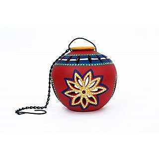 Creative Craft Terracotta Matki Shape Tea light holder with hanging Home Decorative Handicraft Gift