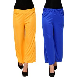 Regular Fit Women's Yellow and Royal Blue  Trousers,Plazzo