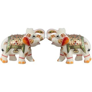 Buy Handicrafts Paradise Pair Of Marble Elephant Trunk Up Golden