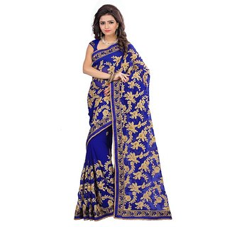 Designer Georgette Embroidered  Blue With Unstitched Blouse Piece