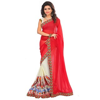 Designer Georgette Embroidered  Red and Beige Half-Half Saree With Unstitched Blouse Piece
