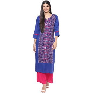 Jaipurkurti Blue Embroidered Round Neck Rayon Straight Kurta