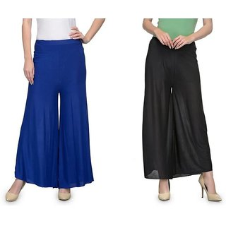 Regular Fit Women'sRoyal Blue , Black Trousers,palazzo pant in medium size with nikker