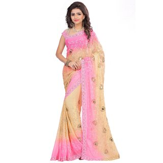 Designer Nazneen Embroidered Pink and Beige Dobule Color Saree With Unstitched Blouse Piece