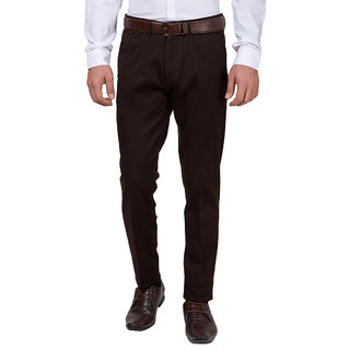 Black Coffee Brown Slim Fit Mid Rise Mens Casual Trouser