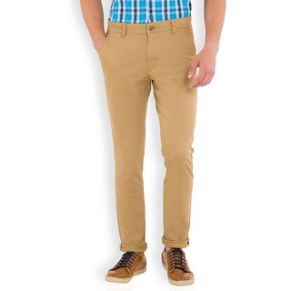 Highlander Beige Slim Fit Mid Rise Mens Casual Trouser