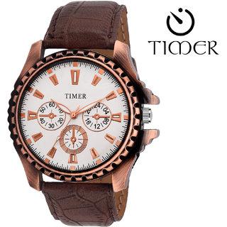 Timer Analog White Dial Men'S Watch Tc-6008