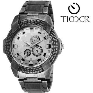 Timer Analog Silver Dial Men'S Watch Tc-6015