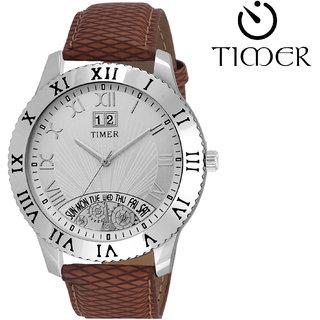 Timer Analog Silver Dial Men'S Watch Tc-6026