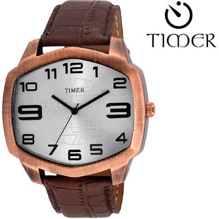 Timer Analog Silver Dial Men'S Watch Tc-6055