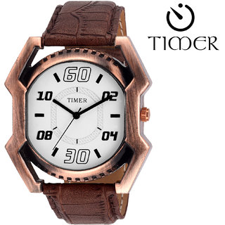 Timer Analog White Dial Men'S Watch Tc-6057