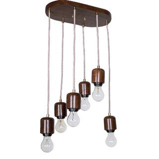 Fos Lighting Modern Wooden 6 Light Hanging Lamp