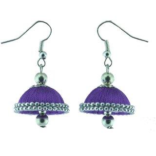 ayiruS Clean Violet Silk Thread Ear rings ( Hoop)