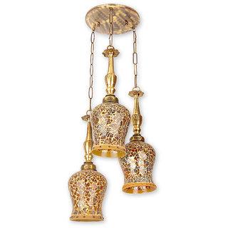 Fos Lighting Triple Fiery Glass Set of 3 Hanging Lights