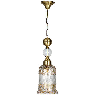 Fos Lighting Cut Glass Handpainted Jar Pendant Light