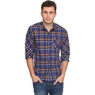 Lee Blue,Orange Checks Casual Shirts For Men