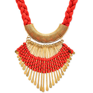 New Fashion Jewellery Red WITH GOLDEN ARCYLIC NECKLACE