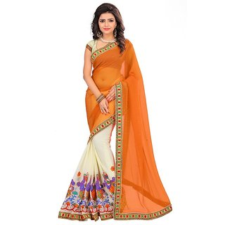 Designer Georgette Embroidered Orange and Beige Half-Half Saree With Unstitched Blouse Piece