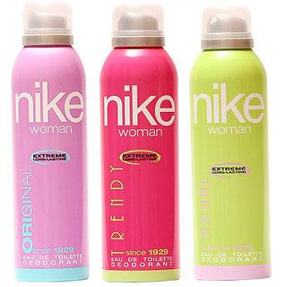 Nike Deodorants Original Trendy and Casual for Women 200ml Each (Pack of 3)