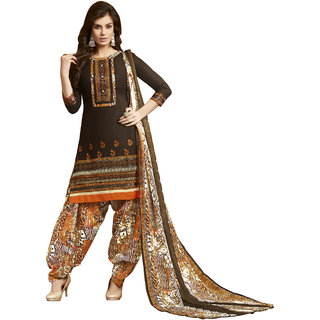 Khushali Presents Embroidered Cotton Patiyala Dress Material(Coffee,Multi)