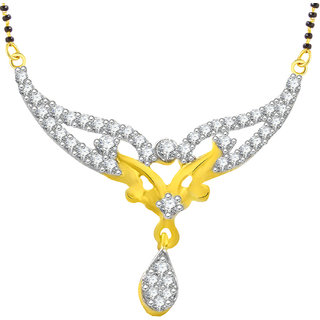 Jewelscart Fancy Gold and Rhodium Plated Mangalsutra Pendant With Black Bead Chain For Women