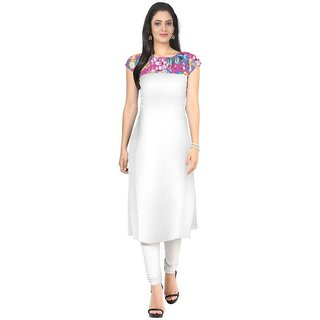Anjali Ethnika Presents White Color American Crepe Stitched Kurti AJECVAT141