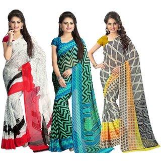 24954635630e30 Buy Vaamsi Multicolor Printed Chiffon Sarees with Blouse (Combo of 3 ...