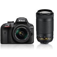 Nikon D3400 24.2  MP DSLR Camera with AF-P 18-55mm & AF-P 70-300mm ASP VR II Lens (Black)