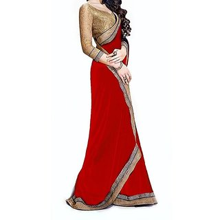 Trendz Apparels Red Chiffon Lace Saree With Blouse