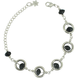 Silver Chain Black Stone Bracelete by Sparkling Jewellery