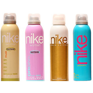 NikeDeodorants Urban Musk Original Gold Edition and Blue for Women 200ml Each (Pack of 4)