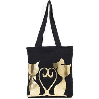 Haqeeba Casual Black Dual Cat Print Canvas Tote Bag HCTB032