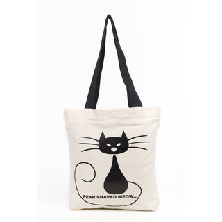Haqeeba Casual White Pear Shaped Meow Print Canvas Tote Bag HCTB050
