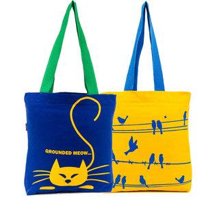 Haqeeba Casual Royal Blue and Yellow Printed Tote Bags Combo HCBC027