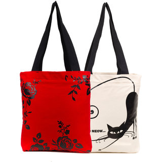 Haqeeba Casual Red and White Printed Tote Bags Combo HCBC041