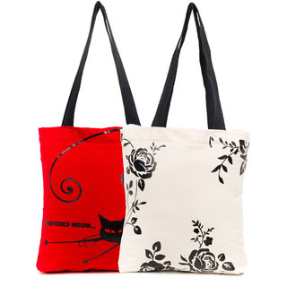 Haqeeba Casual Red and White Printed Tote Bags Combo HCBC047